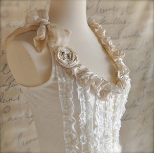 white top with white roses and tie on sholder