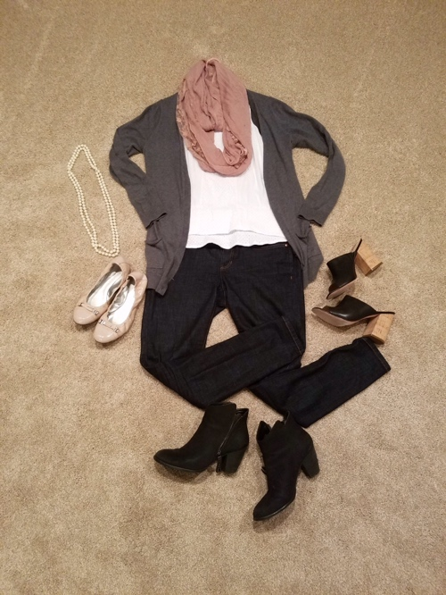 Jeans Eileen Fischer, cardigan Gap, shoes Tahari,,scarf swap meet, shirt old
