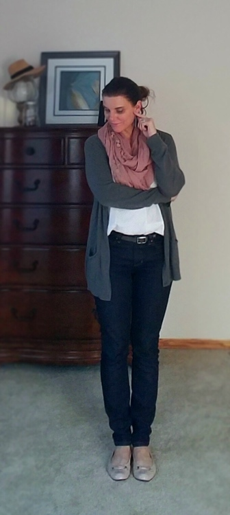 Fall work outfit: gray cardigan Gap, jeans Aileen Fischer, top old, shoes Tahari, scarf swap meet