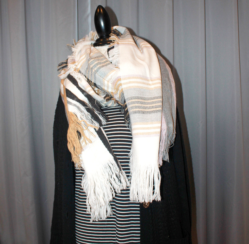 multi-colored scarf, scarf, yellow scarf, gray scarf, stripped shirt