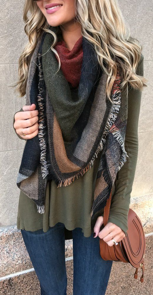 green shirt, multi-colored scarf, scarf, fall scarf, winter scarf