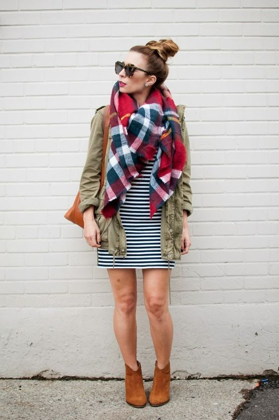 stripped navy dress, multi-colored scarf, green jacket