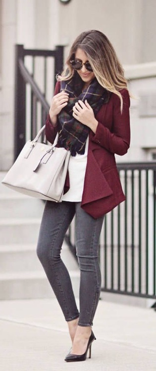 Maroon blazer, outfit, gray skinny jeans, white button up, white shirt