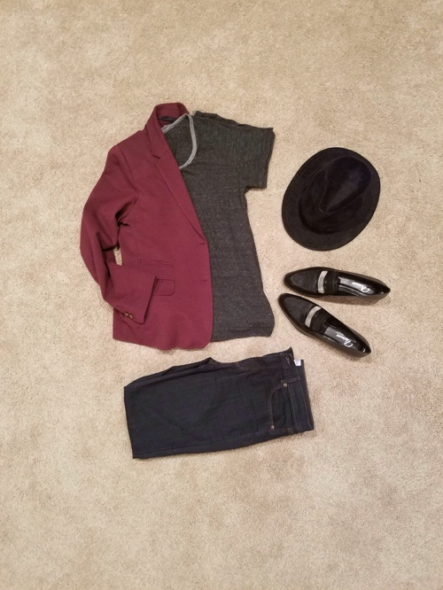 Maroon blazer, black loafer, gray shirt, work wear, Delman shoes, Loft jeans, Jcrew blazer