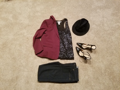Maroon blazer, black loafer, sequin shirt, work wear, Loft jeans, Jcrew blazer