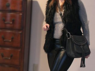 black leather leggings, BCBG, Abecrombie black fur vest, fur vest, black vest, gray sweater