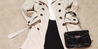 French women style, tan trench coat, red flat shoes