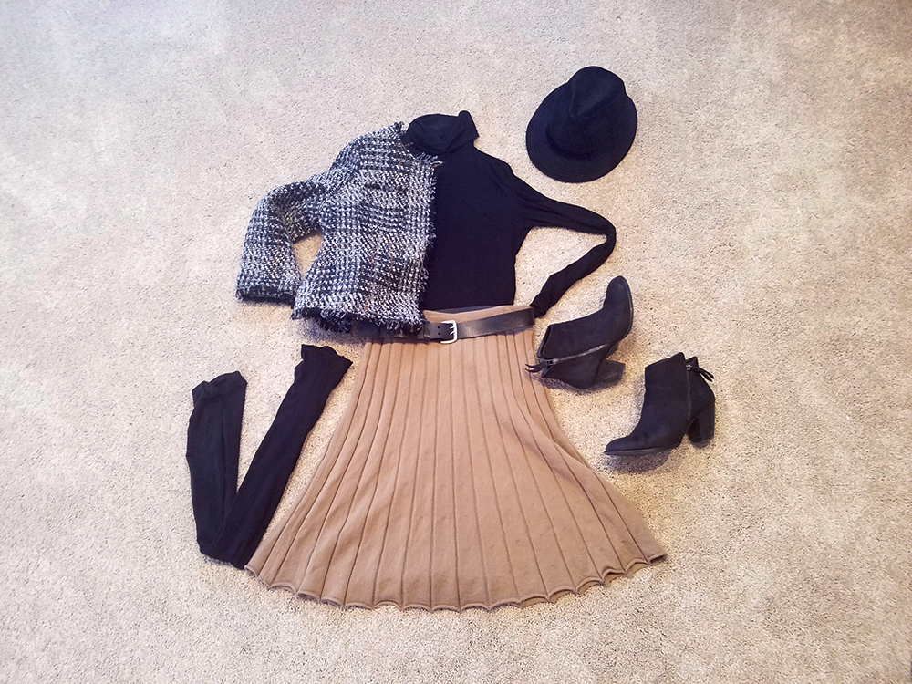winter outfit, tan pleated skirt, jcrew skirt, black booties, chanel inspired blazer