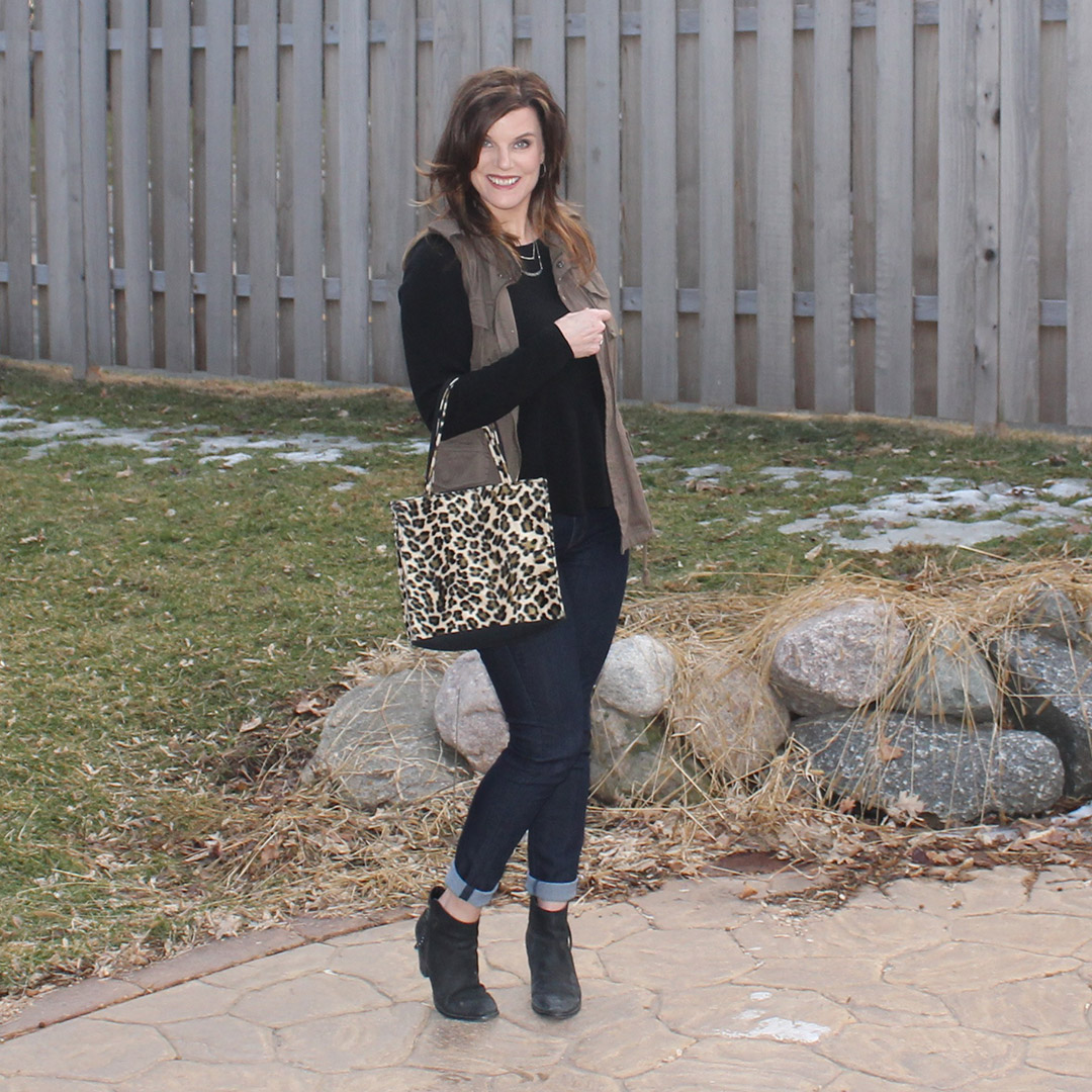 peplum shirt, leopard bag, military army green vest