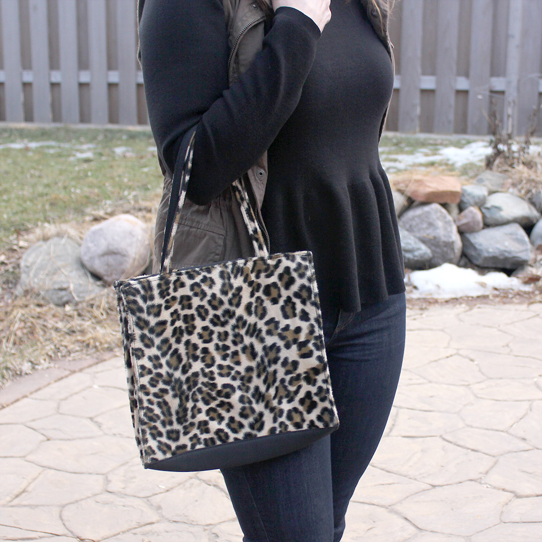 peplum shirt, leopard bag
