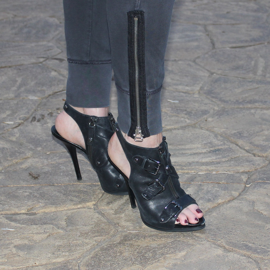 rocker high heels, black heels