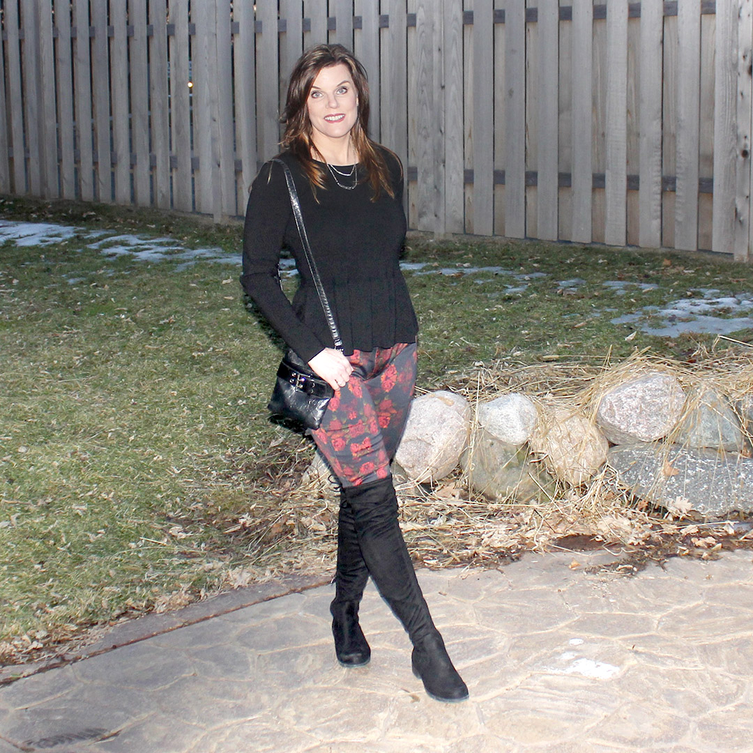 peplum shirt, how to style peplum shirt, black over the knee boots, floral jeans