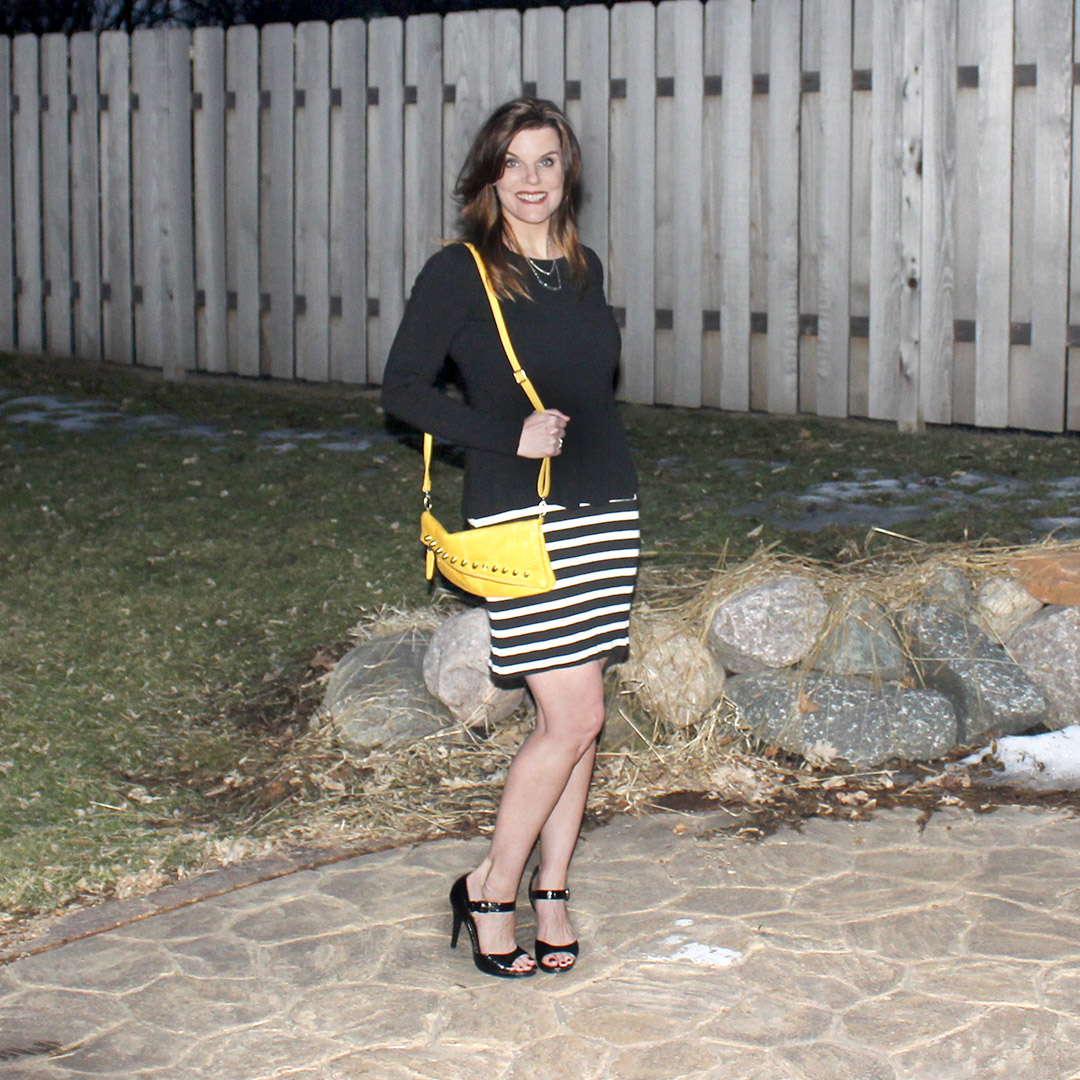 peplum shirt, black high heel sandals, stripped t-shirt dress, yellow bag