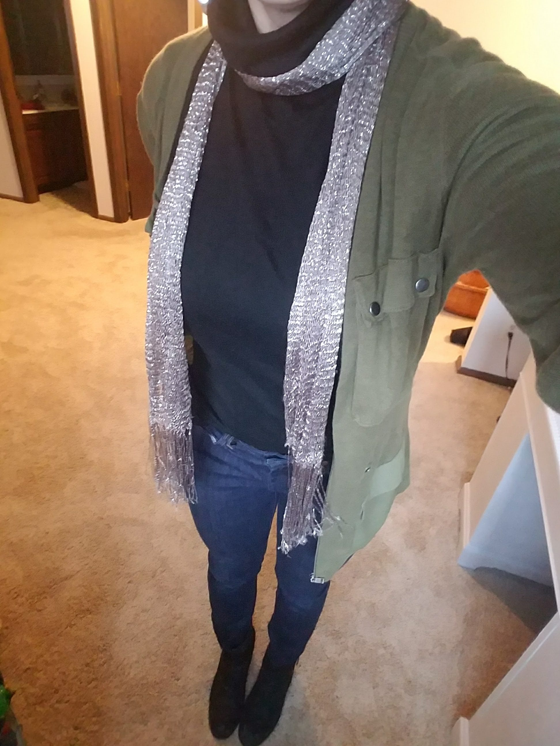 green cardigan with sliver scarf
